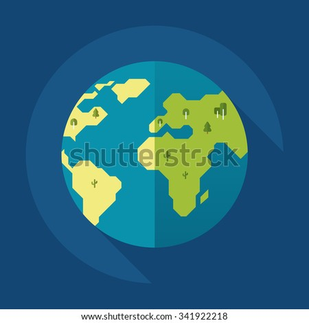Globe earth with trees icon. Flat style. Vector illustration - stock vector