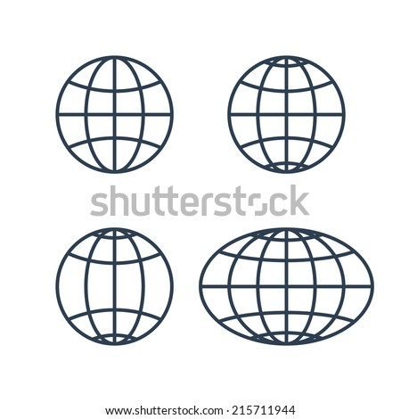 globe earth world icons isolated on white background. vector illustration - stock vector