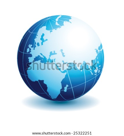 Globe european view with reflection vector