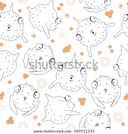 Globe fish seamless pattern