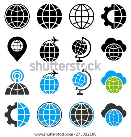 Globe flat vector icons with planet, radio antenna, flight, cloud, gear symbols. Used colors: black, gray, light blue, light green.