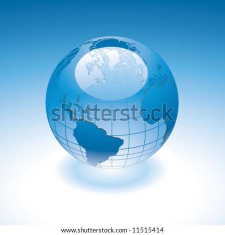 Globe glassy - stock vector