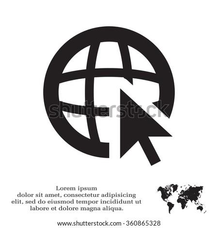 Globe (go to web), web icon. Vector design - stock vector