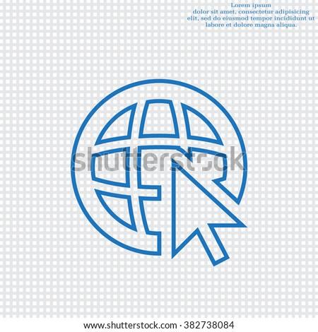 Globe (go to web), web line icon. Vector design - stock vector