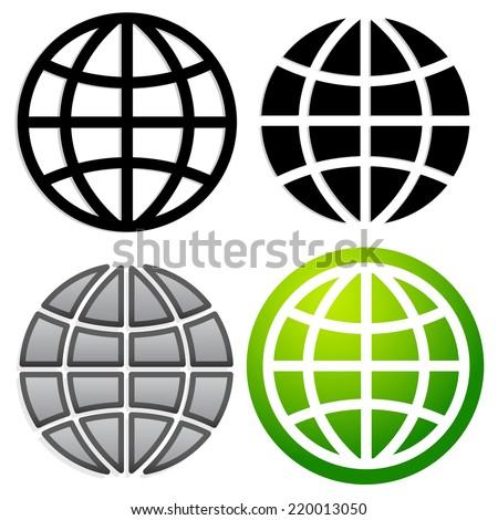 Globe graphics in 4 versions - stock vector