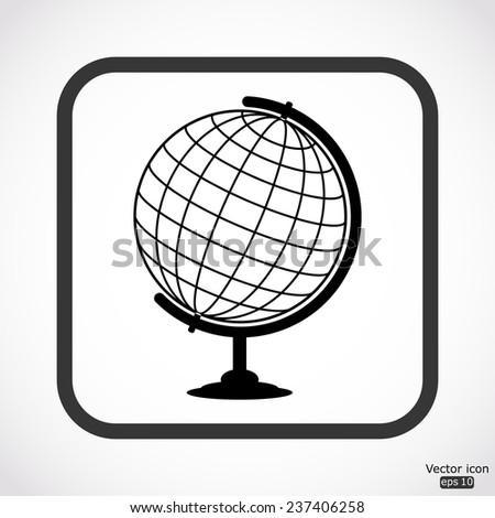 globe icon - black vector illustration
