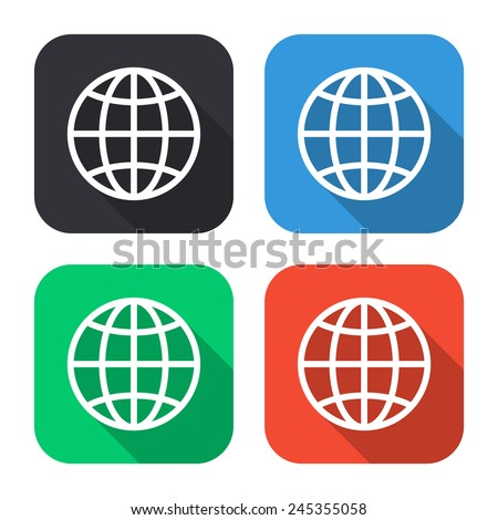 globe icon - colored illustration (gray, blue, green, red) with long shadow - stock vector