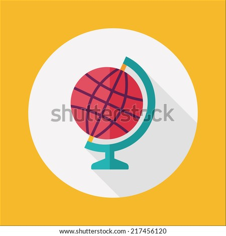 globe icon, flat icon with long shadow - stock vector