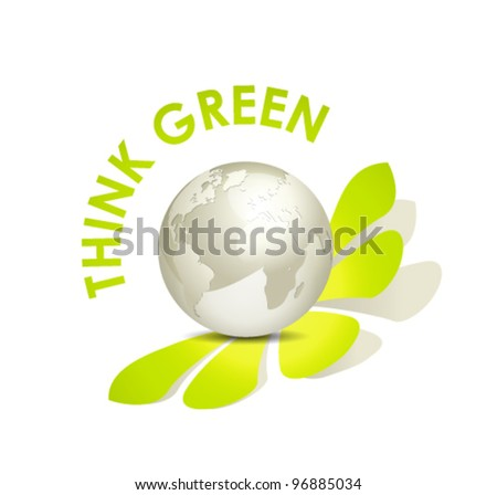Globe icon - green earth concept against white background - stock vector