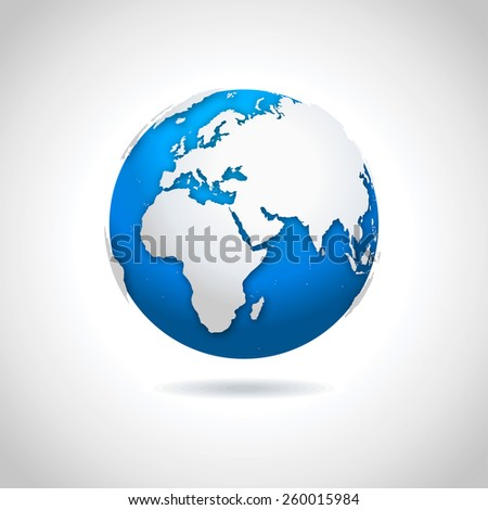 Globe icon - illustration Vector illustration of blue-white globe symbol with drop shadow effect - stock vector