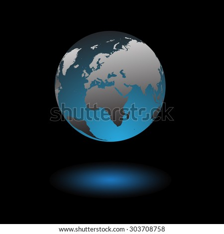 Globe icon of the planet earth over space background vector illustration - stock vector