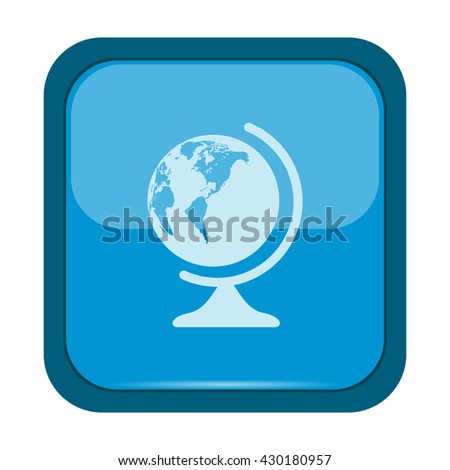 Globe icon on a blue button