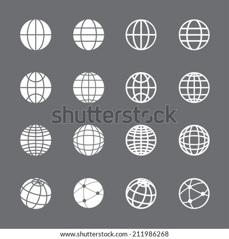 globe icon set, each icon is a single object (compound path), vector eps10 - stock vector