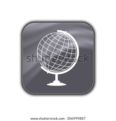 globe icon - vector button