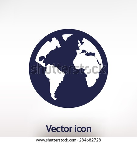 globe  icon, vector illustration. Flat design style