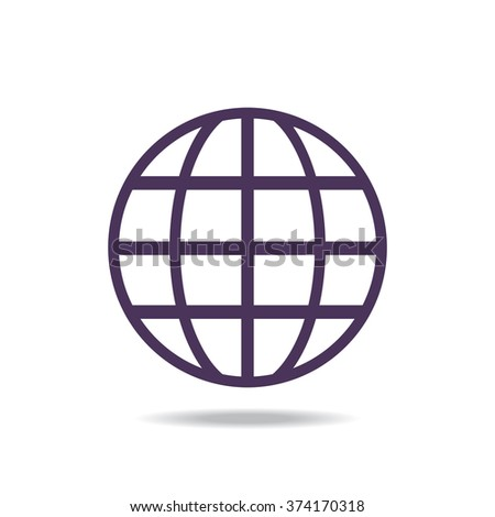 Globe. icon, vector illustration. Flat design style - stock vector