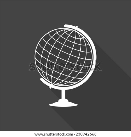 globe icon - vector illustration with long shadow isolated on gray