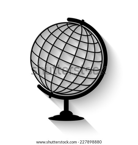 globe icon - vector illustration with shadow