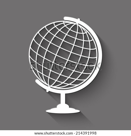 globe icon - white illustration with shadow on gray background