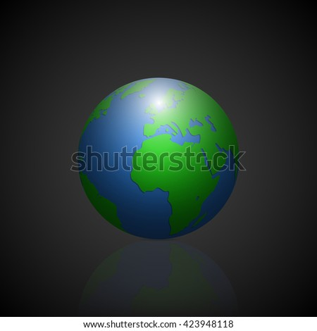 Globe icon with green shadow continents and mirror shadow planet on gradient black background. Vector illustration.