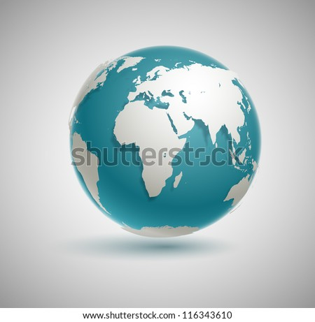 Globe icon with smooth vector shadows and white map of the continents of the world - stock vector