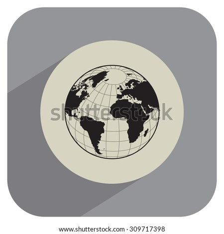 Globe icon with vector map of the continents of the world - stock vector