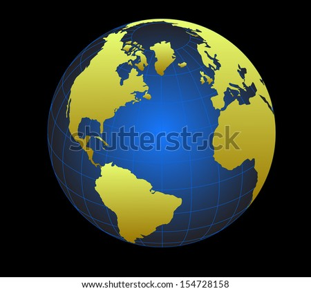 Globe icon with vector of the world - stock vector