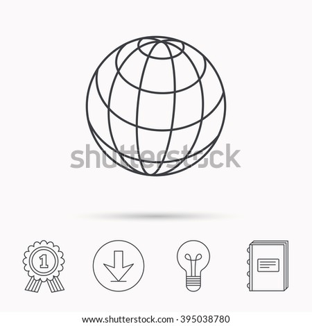 Globe icon. World travel sign. Internet network symbol. Download arrow, lamp, learn book and award medal icons. - stock vector
