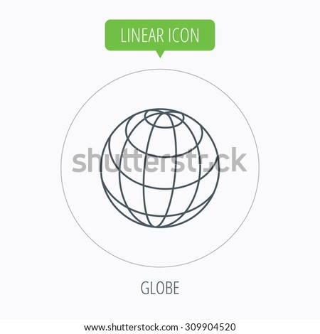 Globe icon. World travel sign. Internet network symbol. Linear outline circle button. Vector - stock vector