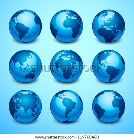 Globe icons - stock vector