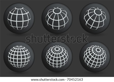Globe Icons on Black Internet Button Collection Original Illustration - stock vector