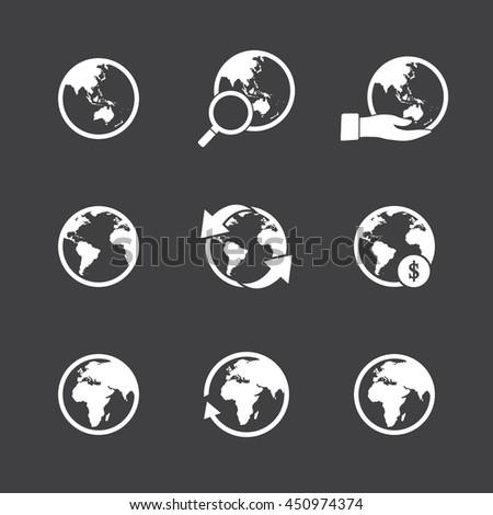 Globe icons set. - stock vector