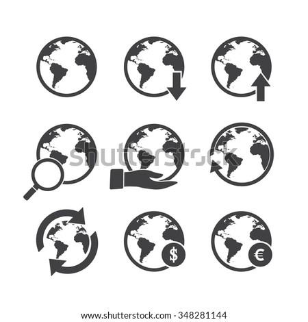 Globe icons set. America,Africa, - stock vector