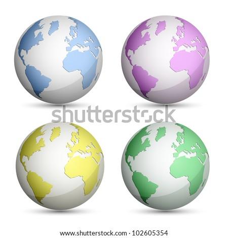 Globe Icons Set. Vector Illustration - stock vector