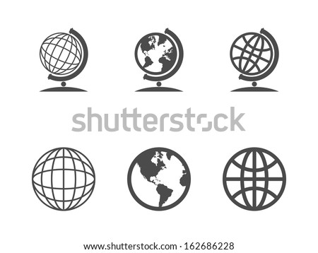 Globe icons. Vector illustration. - stock vector