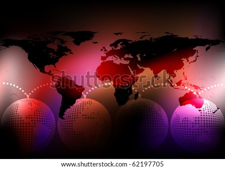 Globe in four color variations. Vector 10 eps.