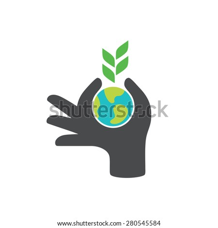 Globe in hand. Save the earth concept design, vector illustration. - stock vector
