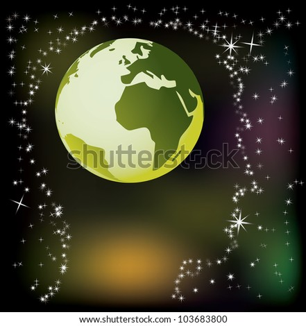globe in head - abstract illustration