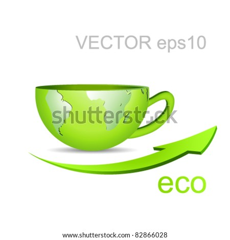 Globe in shape of a coffee cup - green earth and arrow against white background - eco business concept - stock vector