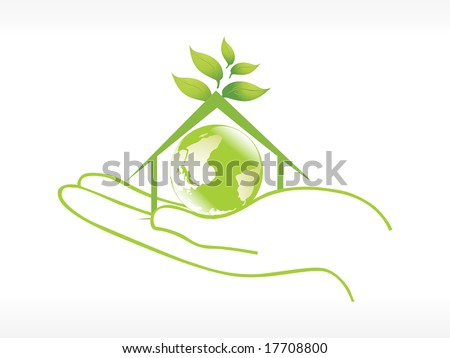 globe in the green house on hand vector illustration - stock vector