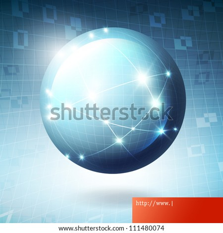 Globe information network concept illustration, vector, EPS10. - stock vector