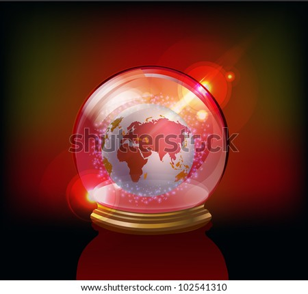 globe inside of glass ball - stock vector