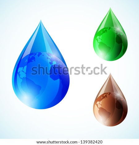 Globe inside water drops in three colors. Abstract vector illustration. - stock vector