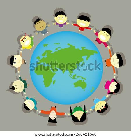Globe kids. International friendship day. Earth day. Vector illustration of diverse Children Holding Hands. - stock vector