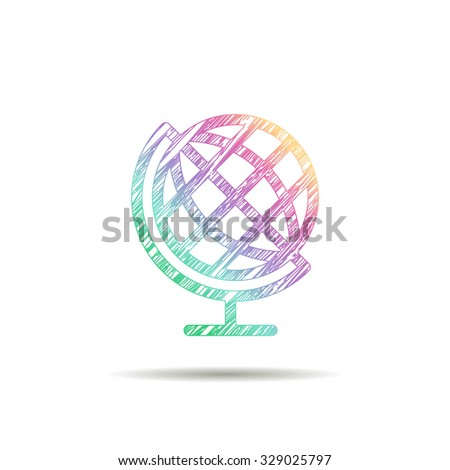 Globe logo painted in the colors of the rainbow