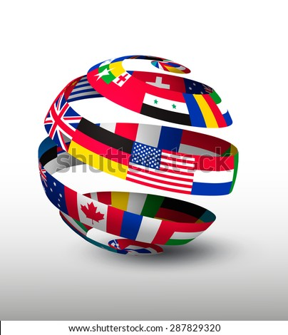 Globe made strip flags vector stock vector royalty free 287829320 globe made of a strip of flags vector freerunsca Image collections