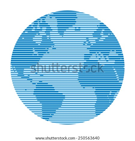 Globe made up of horizontal lines of varying thickness. The effect of television and computer screen. Abstract world map. Globe vector design for presentation, booklet, website etc. Design element.  - stock vector