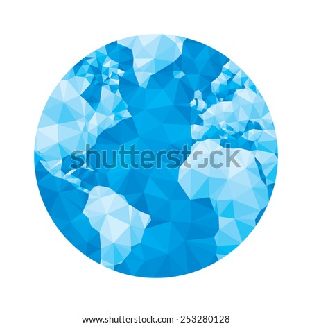 Globe map - abstract geometric vector illustration in blue colors. Globe polygonal illustration. Abstract earth graphic illustration. Earth in geometric polygomal style. April 22 Earth Day. - stock vector