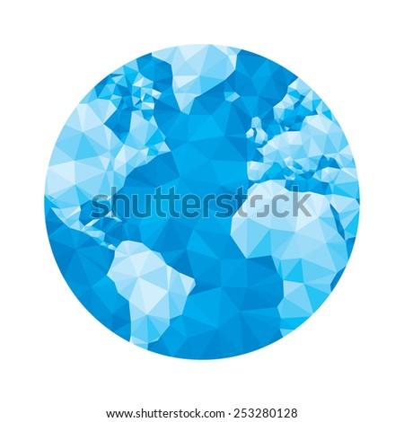 Globe map - abstract geometric vector illustration in blue colors. Globe polygonal illustration. Design element.  - stock vector