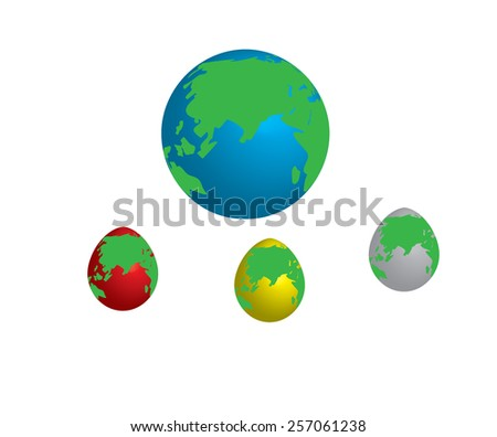 Globe map model, Egg shape different colors. - stock vector